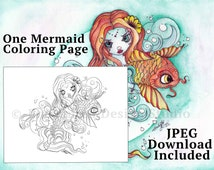 Mermaid Coloring Page - Mermaid Digi - Adult Coloring Page - Coloring Pages - Fantasy Coloring Page - Mermaid Download - Kids Coloring Page