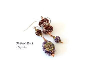 Asymmetrical Earrings - beaded bead art jewelry - copper green purple