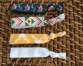 Knotted elastic hair ties - ponytail holders- teal flowers, yellow antlers, aztec, white