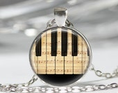 Piano Necklace Sheet Music Jewelry Piano Keys Keyboard Musicians Musical Art Pendant in Bronze or Silver with Link Chain Included