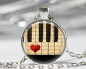 Music Jewelry Piano Necklace Keyboard Musicians Art Pendant in Bronze or Silver With Link Chain Included