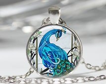 Blue Peacock Necklace Bird Jewelry Nature Glass Dome Art Pendant in Bronze or Silver with Link Chain Included