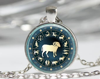 Aries Necklace Zodiac Jewelry Ram Sign March April Birthday Astrology Art Pendant in Bronze or Silver with Link Chain Included