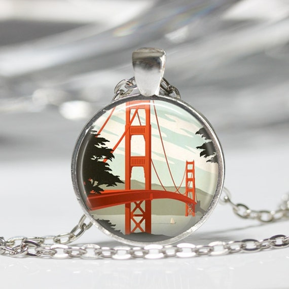 San francisco jewelry golden gate bridge necklace california for San francisco handmade jewelry