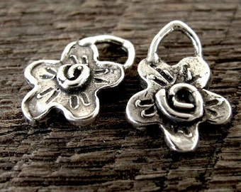 2 Rustic Flower Charms in Sterling Silver -  Whimsy Spiral Center  AC147