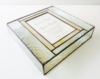 Stained Glass Wedding Invitation Keepsake Gift Box Bride Groom Picture Engagement Custom Made-to-Order One-of-a-Kind