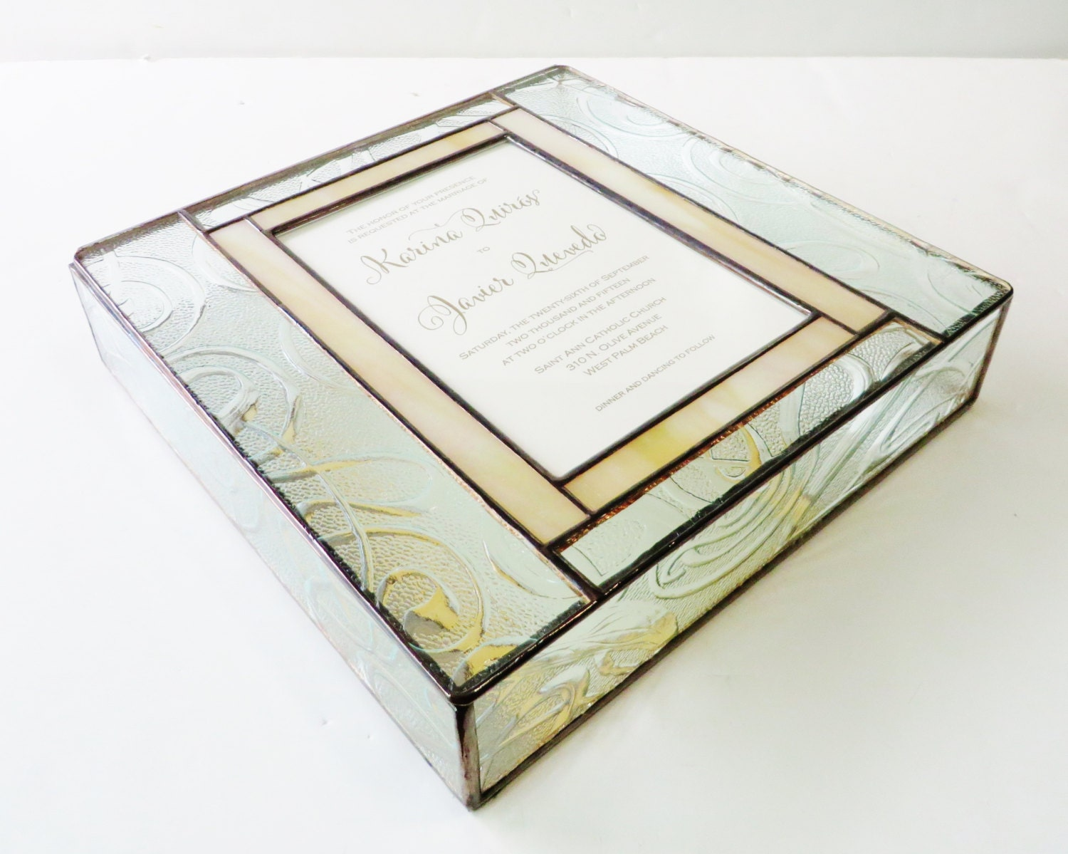 Gift Box Wedding Invitations: Stained Glass Wedding Invitation Keepsake Gift Box Bride Groom