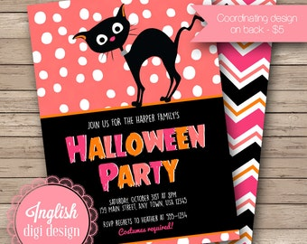 Printable Black Cat Halloween Party Invitation, Black Cat Halloween Invitation, Black Cat Invite in Black, Coral, Pink with Polka Dots