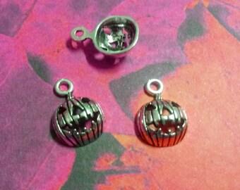Pumpkin Charms Pendants Antiqued Silver Jack O Lantern Charms Pendants Halloween Charms 10 pieces