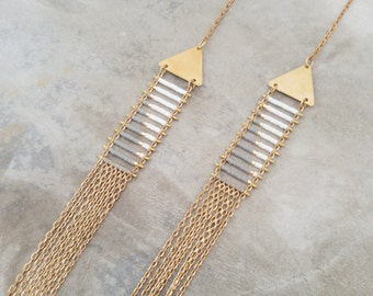 Lala - Native inspired Miyuki Delica glass seed beads woven geometric multi-strand necklace