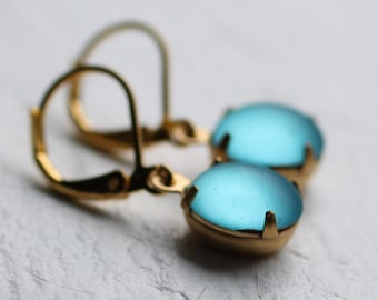 Turquoise Vintage Earrings ... Aquamarine Glass March Birthstone