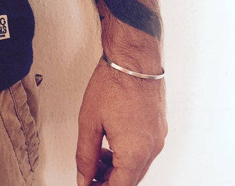 Mens Bracelet, Silver Unisex Bangle, Bracelet for man, Gifts for him