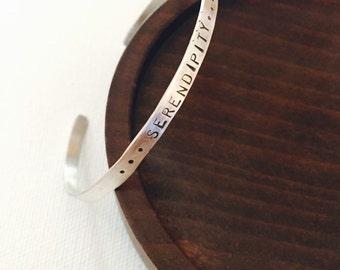Personalized Cuff Bracelet, Inspirational Bracelet, Stacking Bangle, Stamped Jewelry