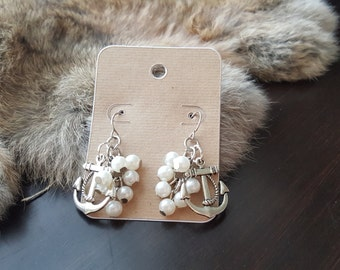 Olivia Paige - Pin up Sailor  rockabilly Anchor pearls  earrings