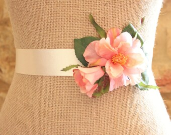 Floral wedding sash, peach flowers, wedding belt, peach flower sash - ' Camilla'