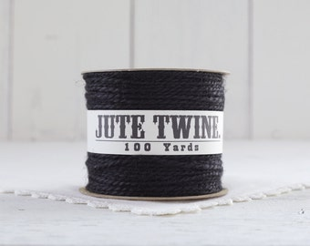 Jute Twine - 100 Yard Spool of Twine, 2-Ply Rustic Burlap Craft String, Pure Black