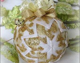 Christmas Ornament Gold Quilted Ornament ribbon ornament