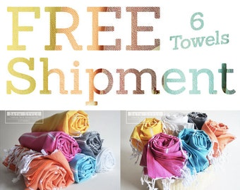 Free Shipment SET 6 Piece Turkish BATH Towel - Classic Peshtemal - White - Dark gray - Pink - Yellow - Blue - Orange