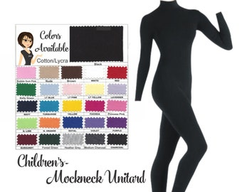 UNITARD /Child ---Mock Neck Unitard....Colors Available great for COSTUMES/HALLOWEEN