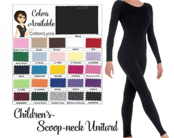 UNITARD /Child ---(Scoop) Neck Long Sleeve Unitard....Colors Available great for COSTUMES/HALLOWEEN