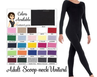 UNITARD /Adult ---Scoop Neck Long Sleeve Unitard....Colors Available great for COSTUMES/HALLOWEEN