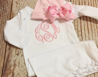 Monogrammed gown with matching light pink cap with bow, newborn coming home outfit, personalized baby shower gift, monogram outfit