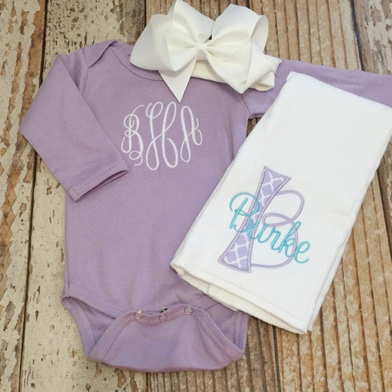 Monogrammed baby girl coming home outfit bodysuit bow burp