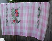 Pink and White Gingham fabric with colorful peacock printed on it.. bed spread, table cloth, fabric