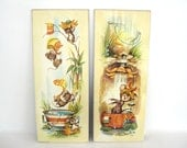 Vintage Wall Plaque Set Anthropomorphic Mice Shower Bathroom Bathtub Picture Wall Decor Mouse Family 1970s Art Coby Lithograph