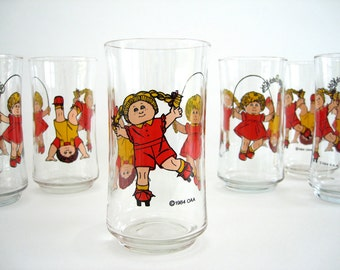 Vintage Glass Tumbler Set of Four Drinking Water Glasses Cabbage Patch Kids Red Yellow 1980's