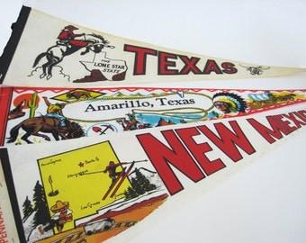 Vintage Travel Pennant Lone Star State Amarillo Texas New Mexico State Felt Baxco Route 66 Souvenir 1960 1970