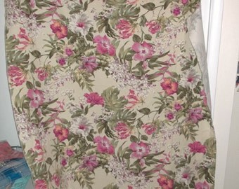 Length of Barkcloth Floral Fabric Just Reduced
