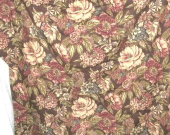 Barkcloth Fabric Browns Naturals Florals