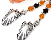 Halloween Ghost Earrings, Orange Black Swarovski Crystals, Sterling Hooks, Sparkly Handmade Beaded Dangles, Samhain