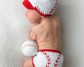 Baseball Hat and Diaper Cover, Newborn Photo Prop, Sports Set, Halloween Costume, Newborn to 6 Months, Athletic Sets for Baby, Diaper Cover