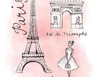 L'esprit de Paris, watercolour, A4 giclée print
