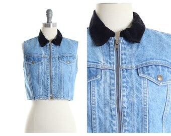 Velvet Collar Denim  Cropped Vest size S