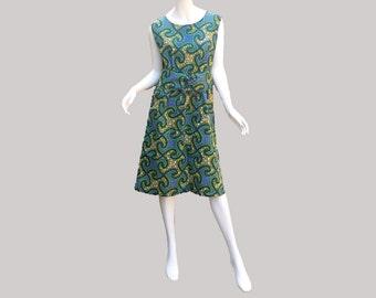 Sleeveless African print green summer dress