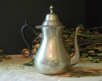 Vintage Pewter Tea or Coffee Pot / Black Handle / Royal Holland Pewter Modern Country