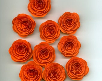 Pumpkin Orange Mini Roses Spiral Paper Flowers for Weddings, Bouquets, Events and Crafts