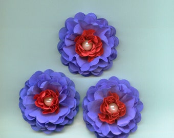 Venus Violet and Cherry Red Peony Paper Flowers with White Pearls