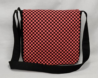 Medium Size Canvas Messenger Bag, Pink and Black Checkered, Ska Rude Girl, Tablet and Phone Zipper Pockets