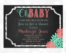 Girl Baby Shower Invitation - It's A Girl Oh Baby Floral Chalkboard Coral Mint Baby Girl Invite DIY Printable Invite PDF (Item #67)
