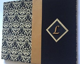 Black and Gold Wedding Guestbook - Damask Guest Book - Monogram Guestbook - Fall Guestbook - (Choose Your Own Fabric)