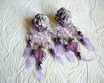 Very Special Purple Glass Heart and Lavender Rose Flower  Long Dangle Statement Earrings