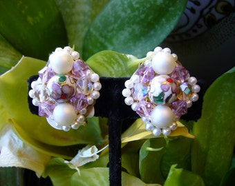 Hand Sewn One of a Kind Clip Earring With Cloisonne Pearl and Lavender Crystal Earrings