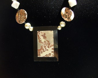 Genuine Mexican Agate Pendant with Leopard Skin Jasper and Vintage Crystal Necklace