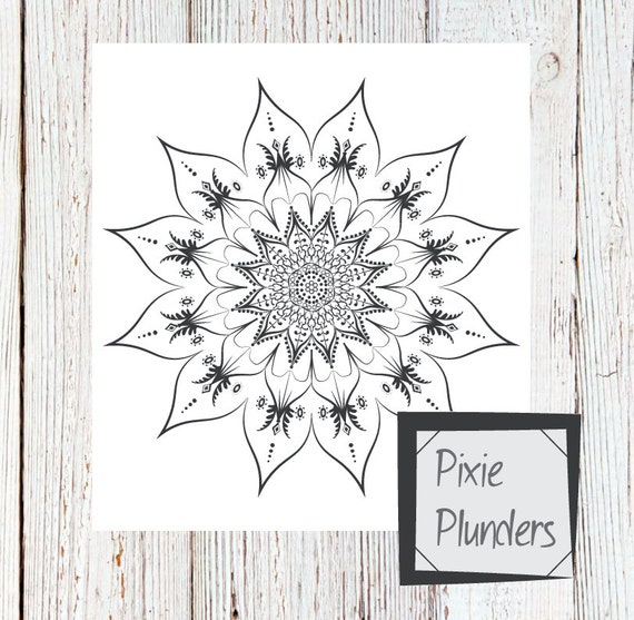 Mandala Colouring Page - Feathered Flower - INSTANT DOWNLOAD