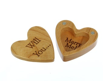 "Engagement Heart Shaped Box, 2-1/4""  x  2-1/4"" X 1"" d, H29, Slender Solid Cherry Wood, ""Will You... Marry Me?"", Paul Szewc"
