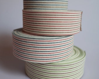 """2 YDs x 40mm (1 1/2"""") French Stripe Cotton Fabric Ribbon (4 Colors)"""